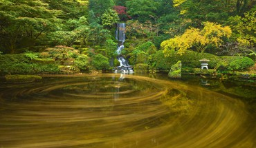 Japanese nature ponds waterfalls HD wallpaper