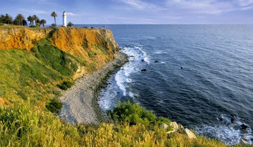 Landscapes nature shore cliffs lighthouses HD wallpaper