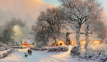 Thomas kinkade artwork nature paintings snow HD wallpaper