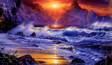 Création d'art d'imaginaire Ocean Sunset ondes  HD wallpaper