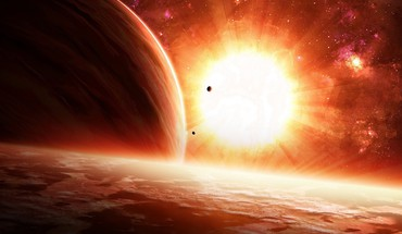 Sun bright outer space planets stars HD wallpaper