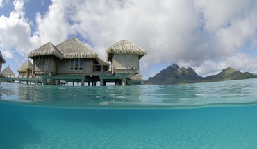 St regis bora water villa bungalow blue lagoon HD wallpaper