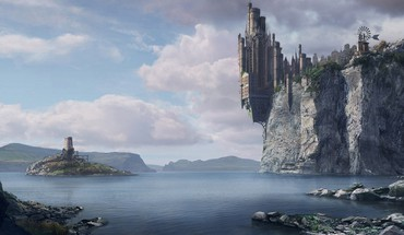Artwork castles cliffs fantasy art ocean HD wallpaper