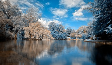 Blue landscapes nature trees stephen saphire lagoon reflections HD wallpaper