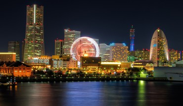 Japon tokyo paysages urbains baie de Yokohama City Night  HD wallpaper