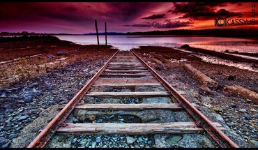 Lakes railroads sunset HD wallpaper