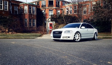 Audi a8 cars houses roads tuning HD wallpaper