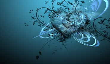 Abstract blue design hearts HD wallpaper
