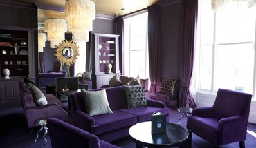 Interior design living room purple HD wallpaper