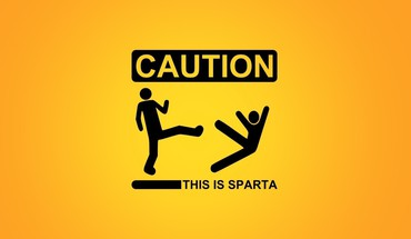 Sparta caution funny kicking minimalistic HD wallpaper