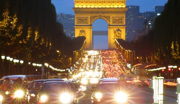 Triumfo arka Champs Elysa © es Paris architektūra automobiliai  HD wallpaper