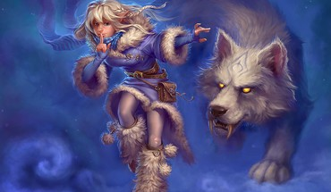 Artwork blondes magic snow wolves HD wallpaper