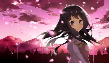 Clouds purple eyes flower petals black hair HD wallpaper