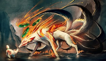 Amaterasu okami fire foxes HD wallpaper