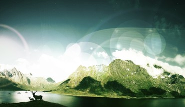 Berge Landschaften Tiere Digital Art Seen Himmel  HD wallpaper
