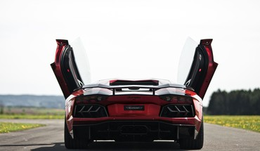 Lamborghini aventador red cars mansory butterfly doors HD wallpaper
