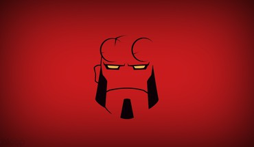 Minimalistic hellboy red background blo0p HD wallpaper