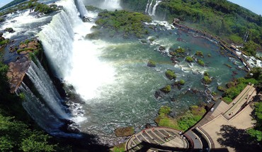 Iguazu falls nature panorama circle waterfalls HD wallpaper