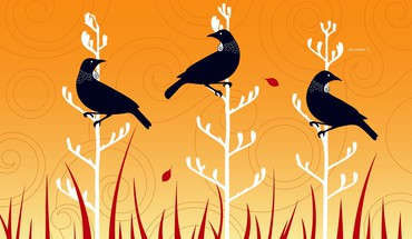 Crows digital art grass HD wallpaper