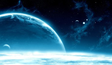 Blue clouds planets gravity HD wallpaper