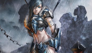 Art armor artwork aqua eyes anime girls HD wallpaper