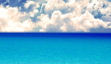 Blue ocean nuages ​​paysages grand écran blanc  HD wallpaper