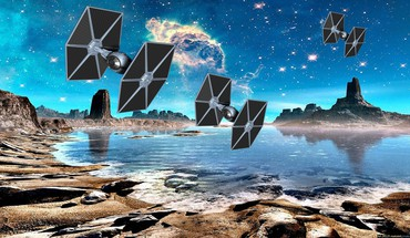 Stars planets spaceships science fiction tie fighter HD wallpaper