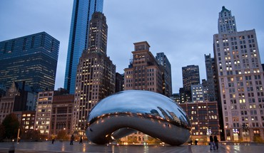 Chicago bean cityscapes sculptures HD wallpaper