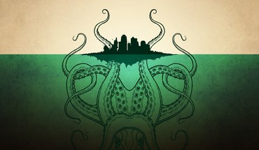 Cthulhu artwork city skyline islands sea HD wallpaper