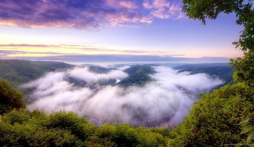 Clouds down landscapes mist nature HD wallpaper