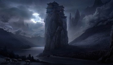 Night tower moon artwork elephants rivers master piece HD wallpaper