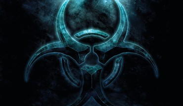 Blue biohazard symbol HD wallpaper