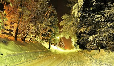 Winter night path HD wallpaper