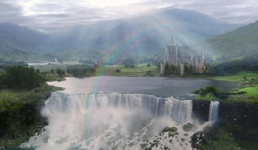 Castles fantasy art water body waterfalls HD wallpaper