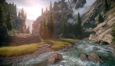 Waterfalls rivers the elder scrolls v: skyrim HD wallpaper