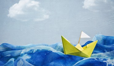 Artwork blue skies boats paintings paper boat HD wallpaper