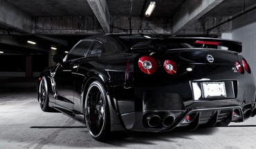 Black automobiliai Nissan GTR  HD wallpaper