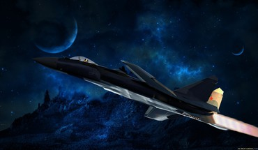 Fighter jet military outer space planets HD wallpaper