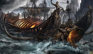 Ships fantasy art artwork HD wallpaper