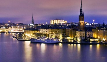 Water night sweden town stockholm landscapes sea HD wallpaper