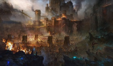 Castles fire demons fantasy art battles siege catapults HD wallpaper