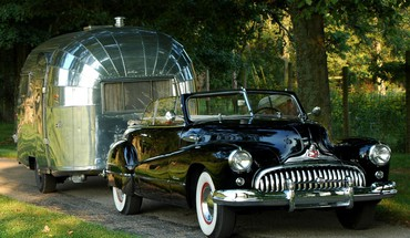 Cars retro buick trailer convertible airstream old HD wallpaper