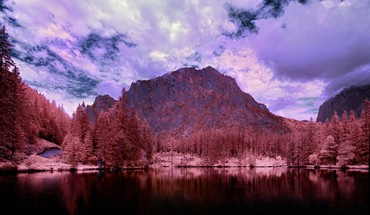 Black infrared photography lakes land HD wallpaper