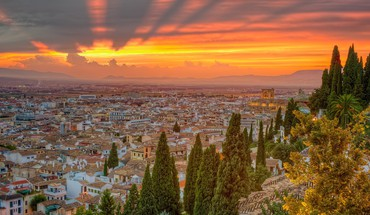 Spain cityscapes nature sunset trees HD wallpaper