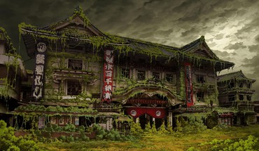 Asian architecture ivy tokyo tokyogenso abandoned HD wallpaper