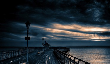 Wolken Dock Landschaften Natur skyscapes  HD wallpaper