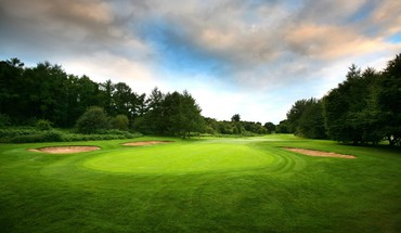 Golf course grass green trees HD wallpaper