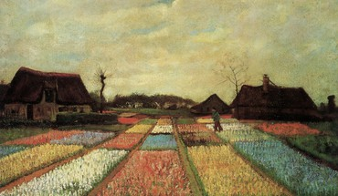 Flowers houses fields dutch artwork traditional art HD wallpaper