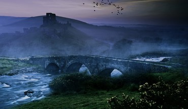 Landscapes birds mist bridges HD wallpaper