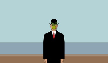 Rene magritte son of man apples green minimalistic HD wallpaper